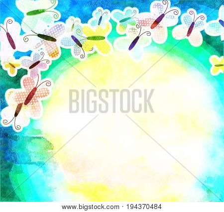 Pretty butterflies forming a background page border designed in a watercolour style.