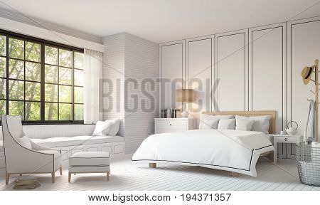Modern vintage bedroom with black and white 3d rendering image. There is a white wood floorwhite brick wall and finished with white furniture.There are large window overlooking the nature