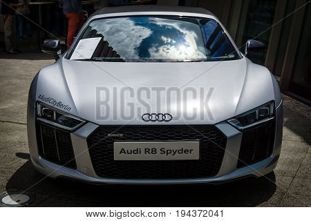 BERLIN - JUNE 17 2017: Sports car Audi R8 Spyder Quattro produced since 2011. Classic Days Berlin 2017.