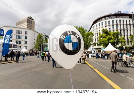 BERLIN - JUNE 17 2017: The symbol of BMW on a balloon. Bayerische Motoren Werke AG (BMW) is a German luxury vehicle motorcycle and engine manufacturing company founded in 1916.
