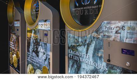 Souvenir Coins Vending Machines From The Sanctuary Of Lourdes