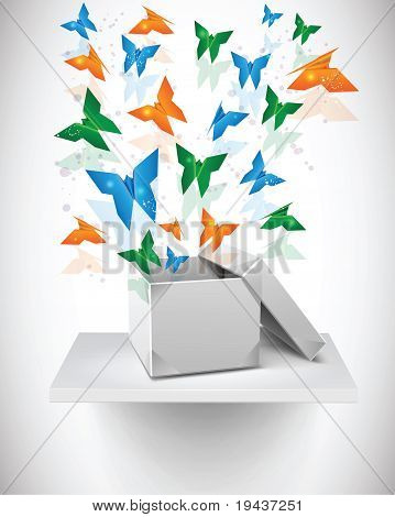 Stock Vector Illustration: Origami Butterflies with Origami Box on Shelf.