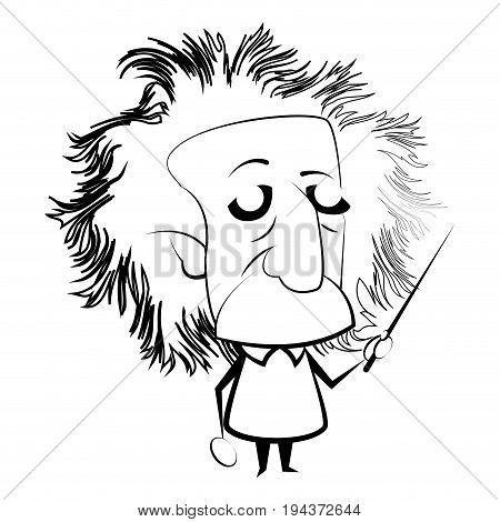 poster of Isolated outline of Einstein character Vector illustration