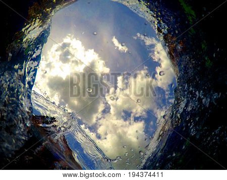 A blue hole looking through the sea