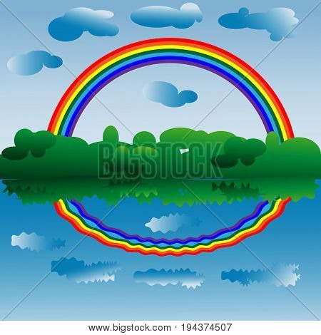 A Bright Rainbow Of Seven Colors Above The Forest And Water, A Rainbow And Clouds Are Reflected In T