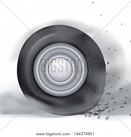 illustration of realistic rotating car wheel with a lot of smoke on white background