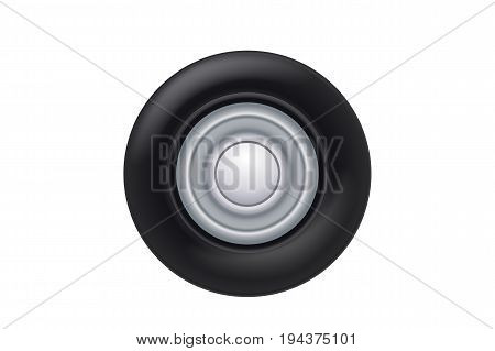illustration of realistic rotated car wheel isolated on white background