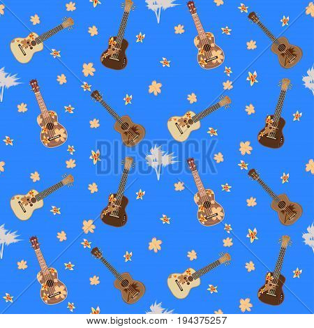 Vector seamless pattern with hawaiian guitars flowers and palm trees. Traditional and electric ukulele, string plucked musical instruments.