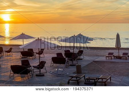 Sunset at a public beach of Jurmala - famous international resort in Latvia, Europe