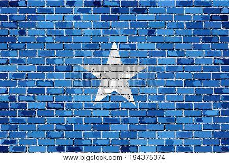 Flag of Somalia on a brick wall - Illustration