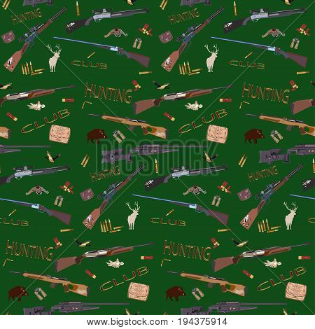 Vector seamless pattern with hunt equipment and accessories. Hunting ducks, wild boar and deer flat symbols.