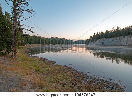 Sunset at Otter Creek at Yellowstone River in Yellowstone National Park in Wyoming USA