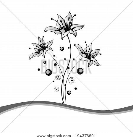 Beautiful Black and White floral frame. Hand-drawn picture. Vector illustration