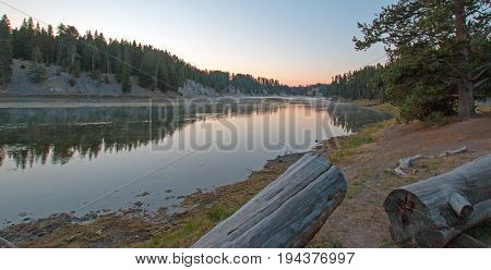 Sunset at Otter Creek camp site at Yellowstone River in Yellowstone National Park in Wyoming USA