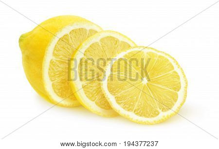 Isolated Sliced Lemon