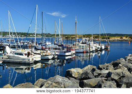 Victoria BC,Canada,August 3rd 2014.Boat beauties docked at the marina in Victoria BC. on a beautiful summers day.