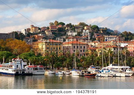La Spezia Italy,October 22nd 2013.The beautiful quaint city of La Spezia Italy with its boat filled marina, hotels and local architecture.