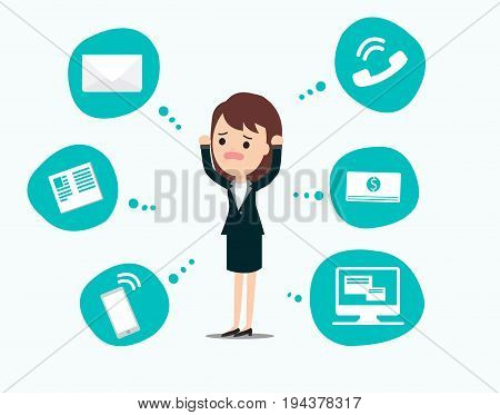 Businesswoman stress pressure, business mental issues, concept vector icons with pictogram computer,money,news,telephone call,e-mail. Pressure mental and depression