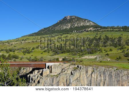 Sunlight Bridge, the highest in Wyoming, on the Chief Joseph Scenic Byway spans the Sunlight Creek.