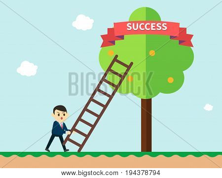 Businessman reaching to the success ribbon on a tree with ladder.Business concept a ladder corporate of success. Vector illustration.