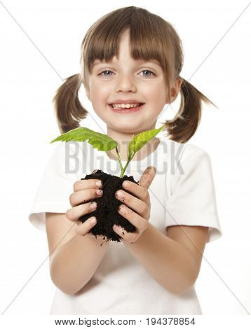 happy little girl with plant in her hand - enviromental concept