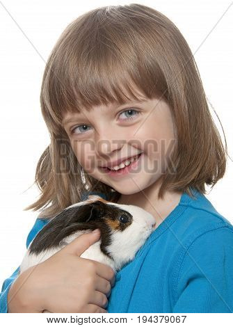 little girl and her pet - guinea pig