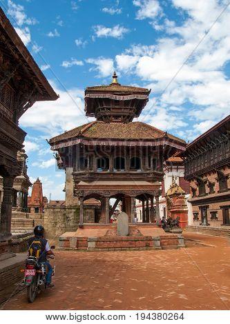 KATHMANDU, BHAKTAPUR, NEPAL. 30 September 2008: Ancient Temple in the Durbar square in Bhaktapur. Durbar Square in Bhaktapur, Kathmandu valley