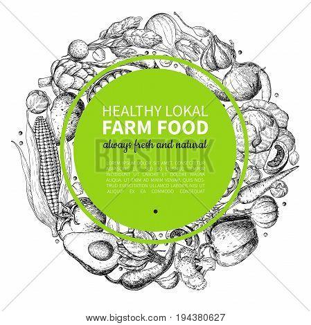 Vegetable hand drawn vintage wreath vector illustration. Farm Market poster. Vegetarian set of organic products. Detailed food drawing. Great for menu, banner, label, logo, flyer