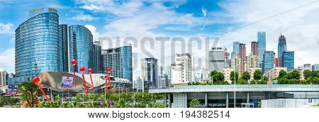 Nanning, China - June 9, 2017: Modern Business And Residential B