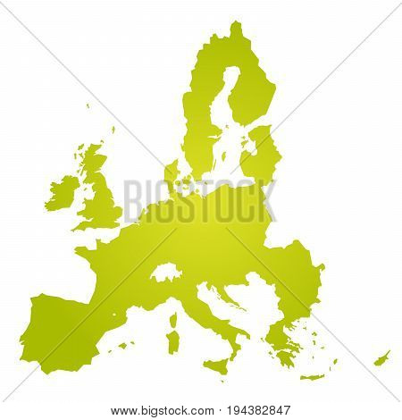 European Union territory. Green gradient silhouette isolated on white background. Map of EU. Vector illustration.