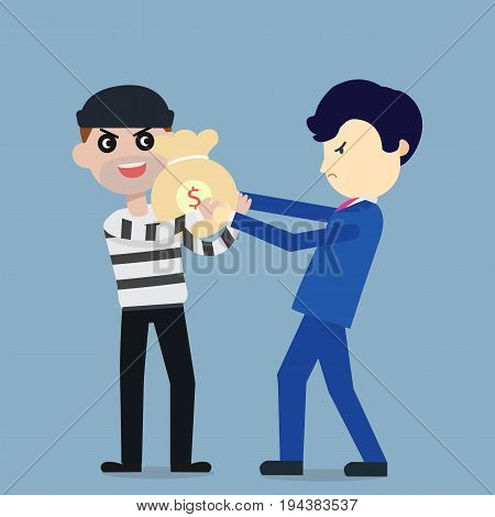 Thief steal money from businessman flat cartoon design.Steal money concept.Vector illustration