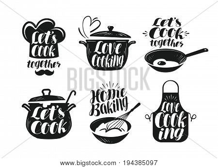 Cooking, cookery, cuisine label set. Cook, chef, kitchen utensils icon or logo Vector illustration