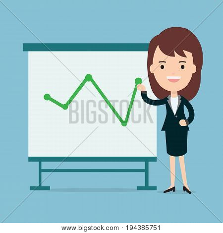 Businesswomen present with board.Increase and decrease diagram on board.Cute woman character present about business.vector and illustration