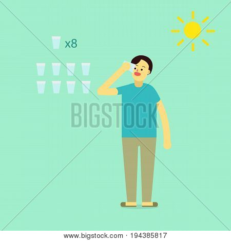 Young man wear private dress drink water.Info eight glass of water of a day for heathy with sun icons.flat cartoon design for infographic and text.