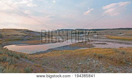 Sunset At Elk Anter Creek And Yellowstone River In The Hayden Valley In Yellowstone National Park In