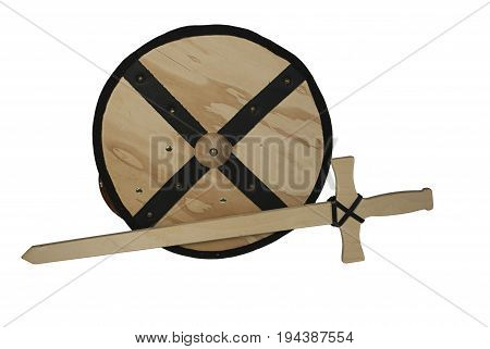 Wooden Shield and Sword - path included