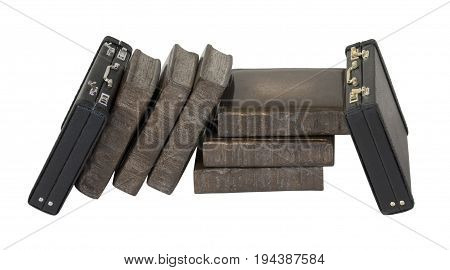 Leather briefcases leaning on Books - path included