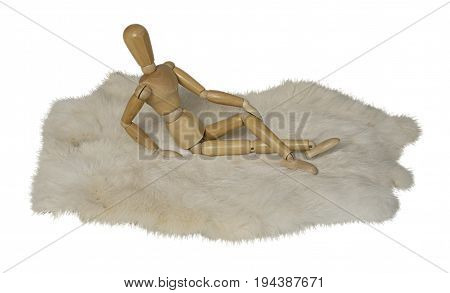Person Lying Prone on Rabbit Fur - path included