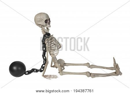 The skeleton wearing a ball and chain around it's neck - path included