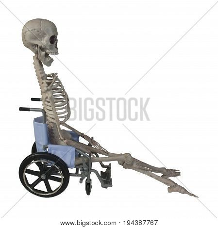 The skeleton in a Wheelchair - path included