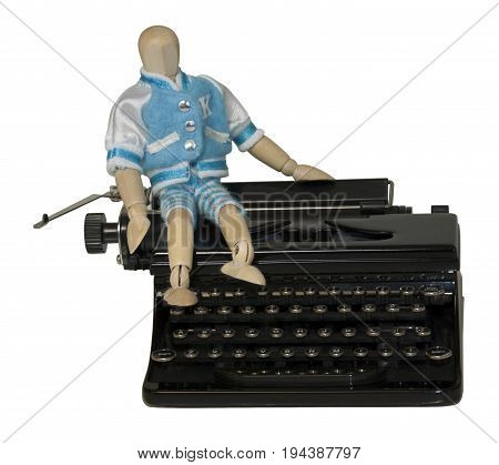 Student Sitting on Typewriter - path included