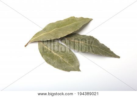Aromatic dried bay leaves on white background