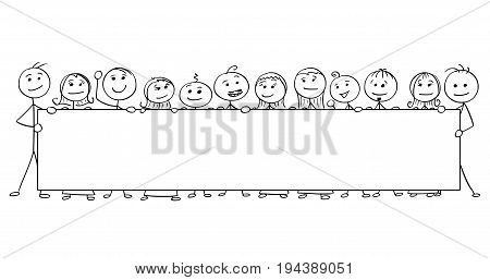 Cartoon vector stick man stickman drawing of crowd twelve smiling people holding a large empty sign.