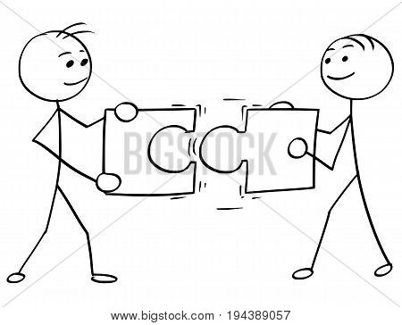Cartoon vector stick man stickman drawing of two smiling men each one holding a large jigsaw puzzle piece trying to connect them together.