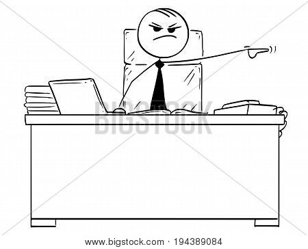 Cartoon vector stick man stickman drawing of boss behind office desk pointing his left arm to fire dismiss a worker.