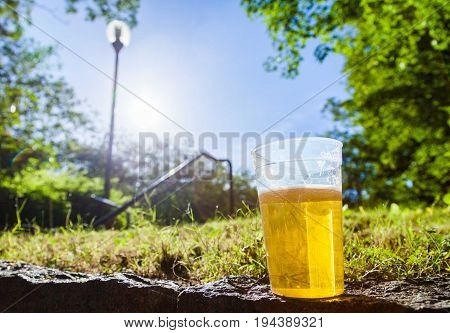 a glas of beer on a gras background
