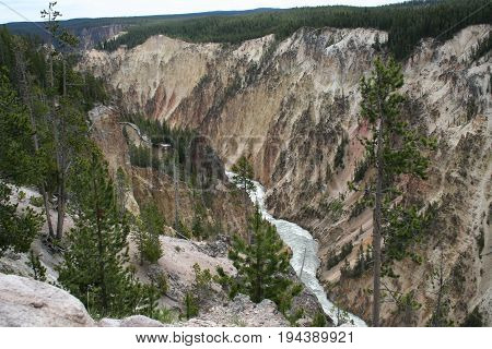 The grand canyon of the yellowstone river in Yellowstone National Park.