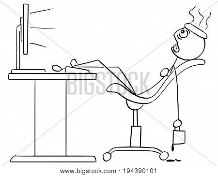 Cartoon vector stick man stickman drawing of man sitting exhausted tired in front of the computer with legs on the desk cooling his head with ice and coffee mug in his hand.