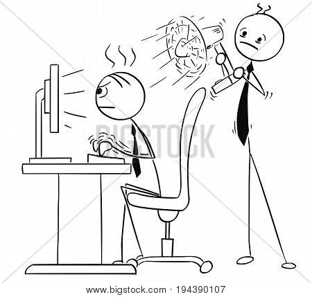 Cartoon vector stick man stickman drawing of man working typing hard on the desktop computer and second man behind him cooling him with fan ventilator