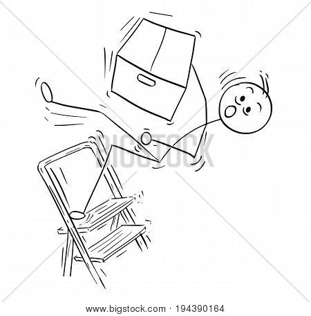 Cartoon vector stick man stickman drawing of man holding large paper box and falling from the top of the stepladder ladder.